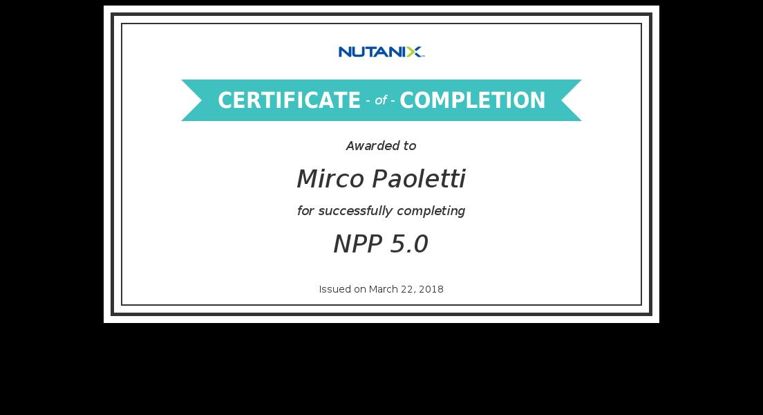 sinapsi srl - system integrator Umbria Lazio Marche - Partner Nutanix Iperconvergenza 2018_Nutanix NPP 5.0_Certificate