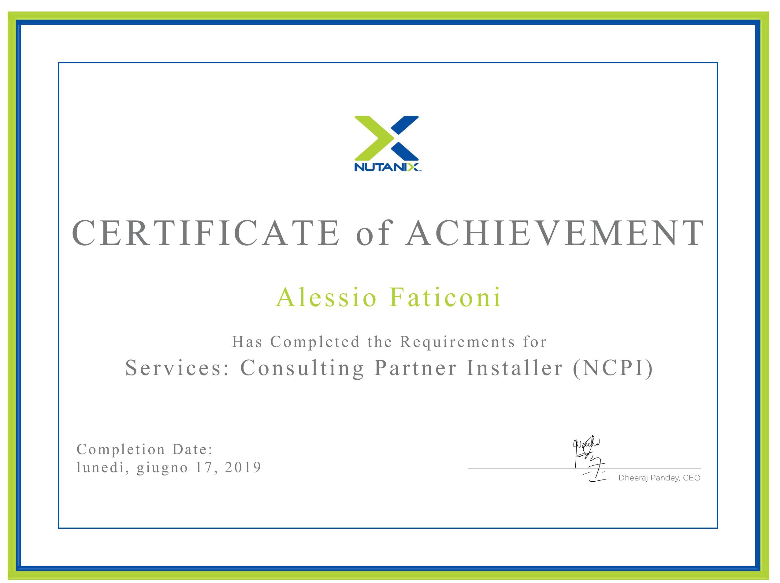 inapsi srl - system integrator Umbria Lazio Marche - Partner Nutanix Iperconvergenza 2019_Certificate Nutanix NCPI