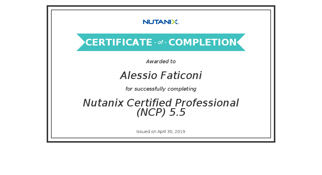 sinapsi srl - system integrator Umbria Lazio Marche - Partner Nutanix Iperconvergenza 2019_Nutanix Certified Professional (NCP) 5.5_Certificate