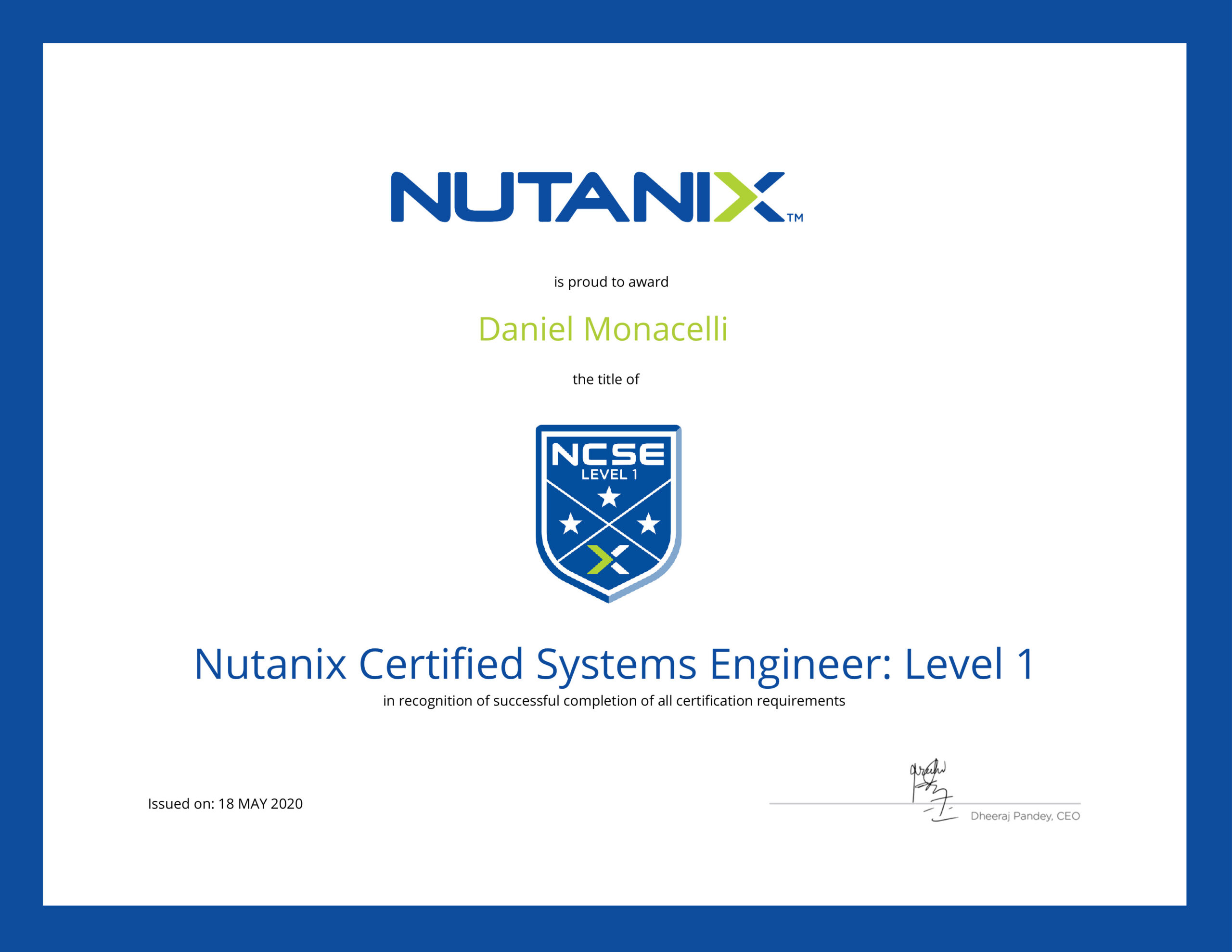 sinapsi srl - system integrator Umbria Lazio Marche - Partner Nutanix Iperconvergenza NCSEL1